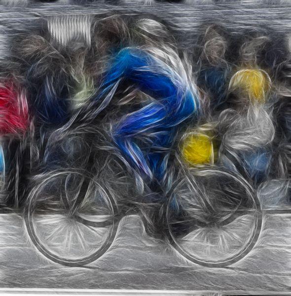 blue bicycle rider digital artwork